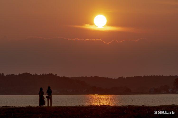 涸沼の夕日